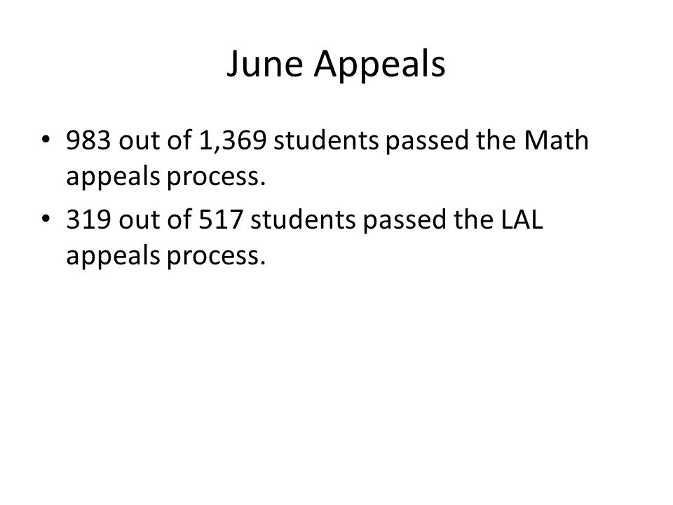 June Appeals 983 out of 1,369 students passed the Math appeals process. 319 out of 517 students passed the LAL appeals process.
