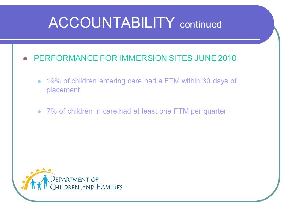 ACCOUNTABILITY continued PERFORMANCE FOR IMMERSION SITES JUNE 2010 19% of children entering care had a FTM within 30 days of placement 7% of children in care had at least one FTM per quarter