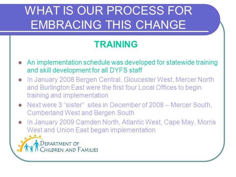 WHAT IS OUR PROCESS FOR EMBRACING THIS CHANGE An implementation schedule was developed for statewide training and skill development for all DYFS staff In January 2008 Bergen Central, Gloucester West, Mercer North and Burlington East were the first four Local Offices to begin training and implementation Next were 3 sister sites in December of 2008 – Mercer South, Cumberland West and Bergen South In January 2009 Camden North, Atlantic West, Cape May, Morris West and Union East began implementation TRAINING