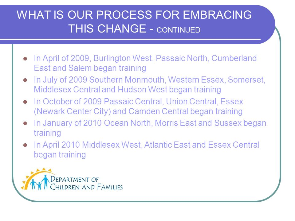 WHAT IS OUR PROCESS FOR EMBRACING THIS CHANGE - CONTINUED In April of 2009, Burlington West, Passaic North, Cumberland East and Salem began training In July of 2009 Southern Monmouth, Western Essex, Somerset, Middlesex Central and Hudson West began training In October of 2009 Passaic Central, Union Central, Essex (Newark Center City) and Camden Central began training In January of 2010 Ocean North, Morris East and Sussex began training In April 2010 Middlesex West, Atlantic East and Essex Central began training