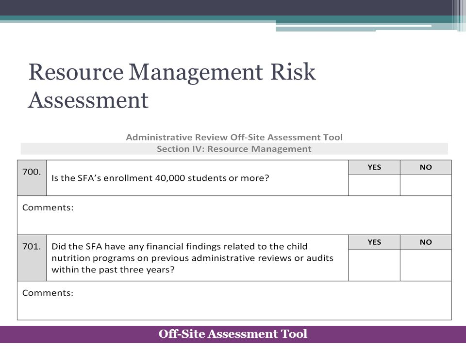 Resource Management Risk Assessment Off-Site Assessment Tool