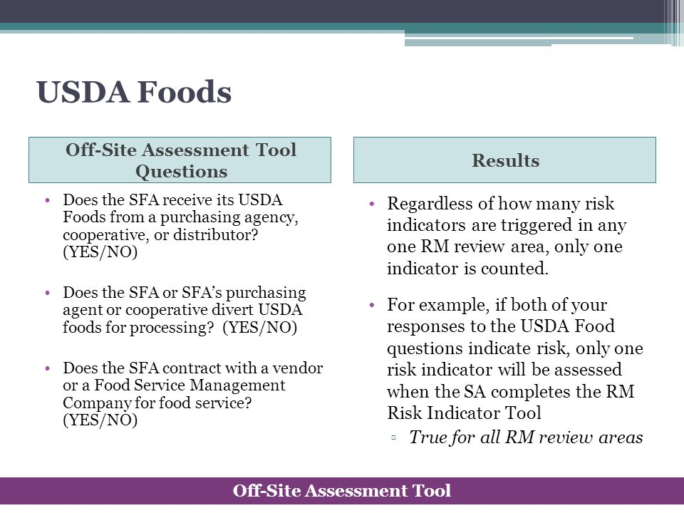 USDA Foods Off-Site Assessment Tool Questions Results Does the SFA receive its USDA Foods from a purchasing agency, cooperative, or distributor? (YES/