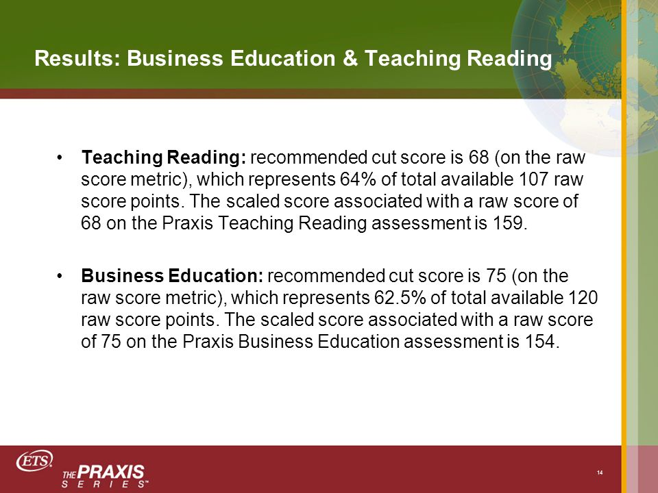Results: Business Education & Teaching Reading Teaching Reading: recommended cut score is 68 (on the raw score metric), which represents 64% of total available 107 raw score points.