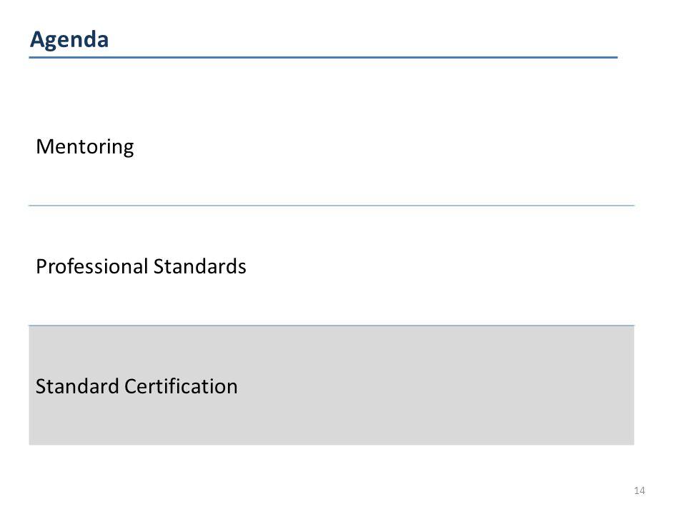 Agenda 14 Mentoring Professional Standards Standard Certification