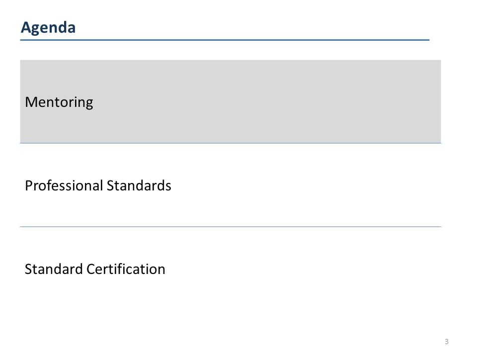 Agenda 3 Mentoring Professional Standards Standard Certification