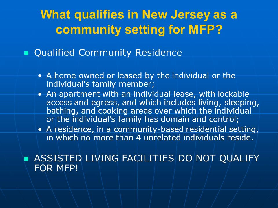 What qualifies in New Jersey as a community setting for MFP.