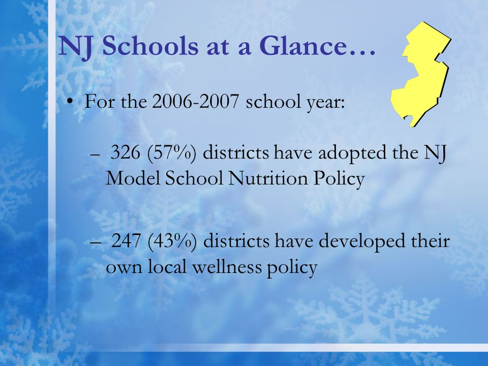 NJ Schools at a Glance… For the 2006-2007 school year: – 326 (57%) districts have adopted the NJ Model School Nutrition Policy – 247 (43%) districts h