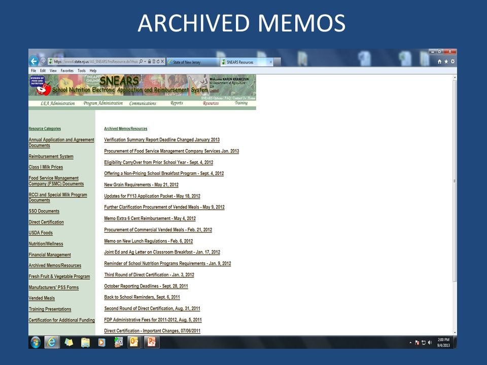 ARCHIVED MEMOS