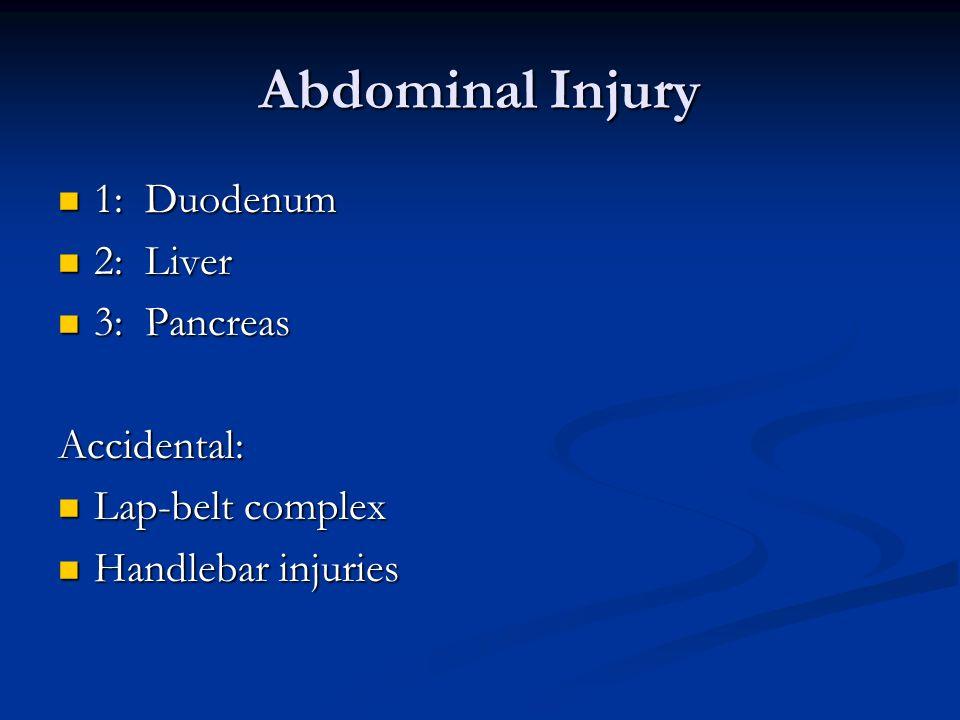 Abdominal Injury 1: Duodenum 1: Duodenum 2: Liver 2: Liver 3: Pancreas 3: PancreasAccidental: Lap-belt complex Lap-belt complex Handlebar injuries Han