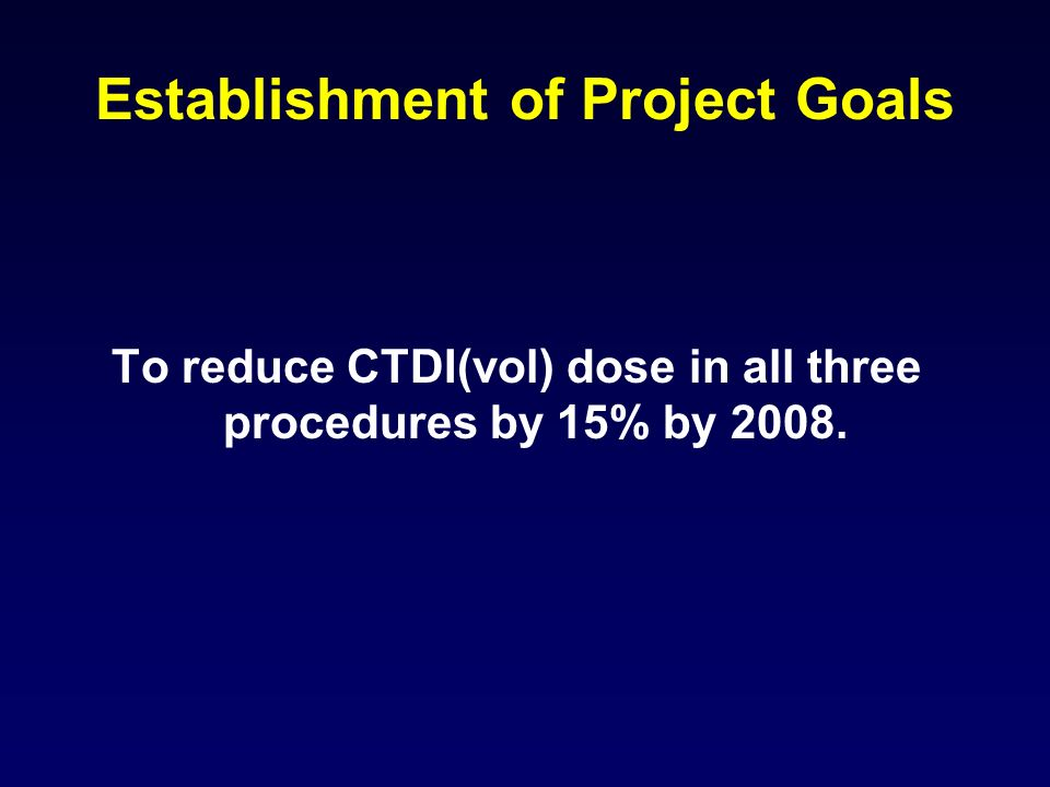 Establishment of Project Goals To reduce CTDI(vol) dose in all three procedures by 15% by 2008.