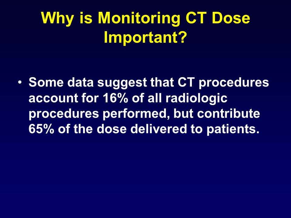 Why is Monitoring CT Dose Important.