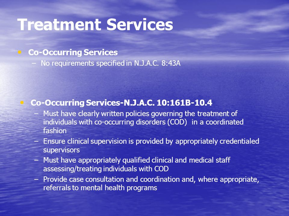 Treatment Services Co-Occurring Services –No requirements specified in N.J.A.C. 8:43A Co-Occurring Services-N.J.A.C. 10:161B-10.4 –Must have clearly w