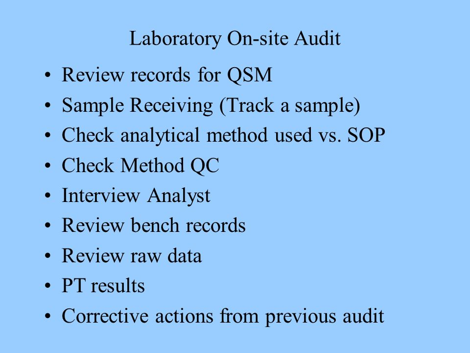 Laboratory On-site Audit Review records for QSM Sample Receiving (Track a sample) Check analytical method used vs. SOP Check Method QC Interview Analy