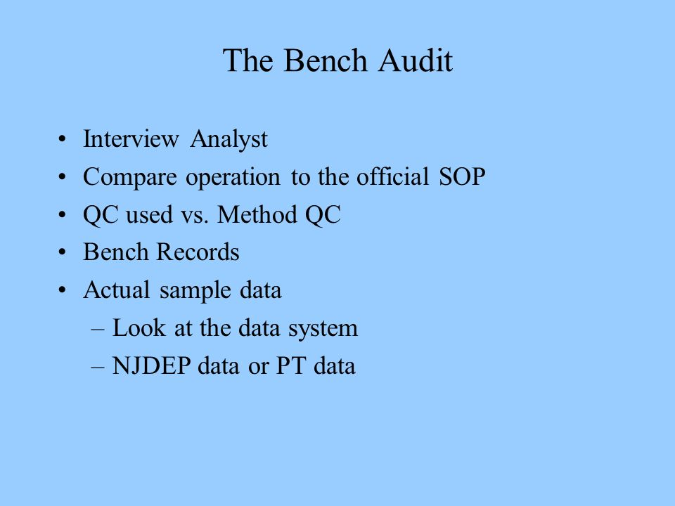 The Bench Audit Interview Analyst Compare operation to the official SOP QC used vs. Method QC Bench Records Actual sample data –Look at the data syste