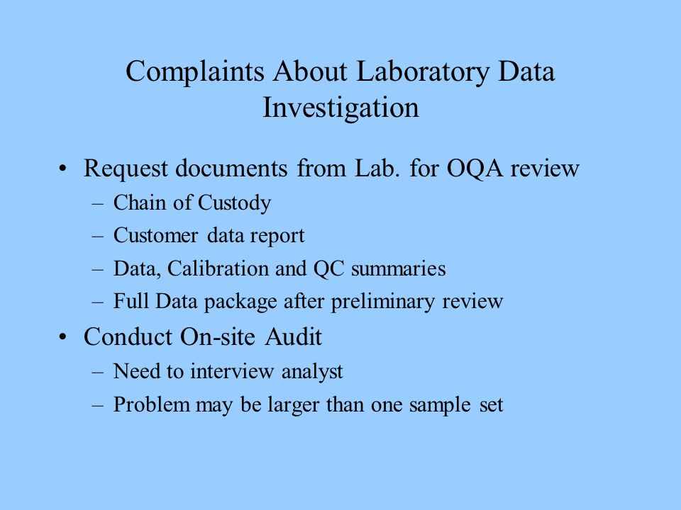Complaints About Laboratory Data Investigation Request documents from Lab.