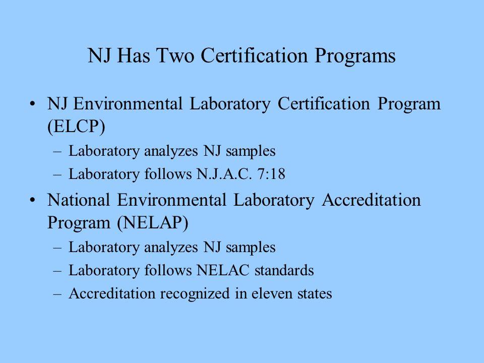 NJ Has Two Certification Programs NJ Environmental Laboratory Certification Program (ELCP) –Laboratory analyzes NJ samples –Laboratory follows N.J.A.C.