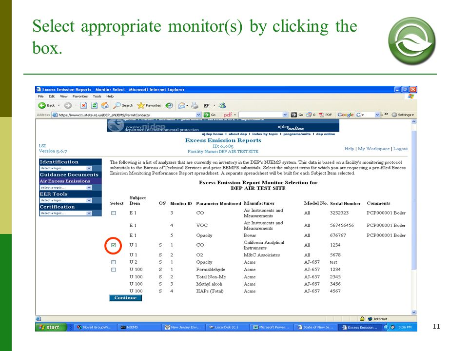 11 Select appropriate monitor(s) by clicking the box.