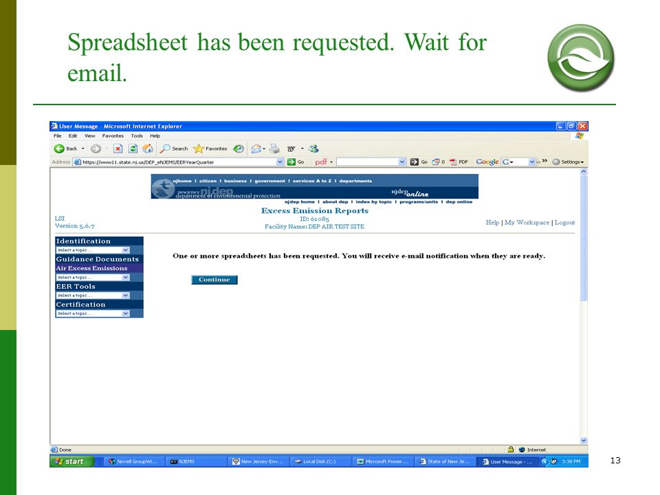 13 Spreadsheet has been requested. Wait for email.