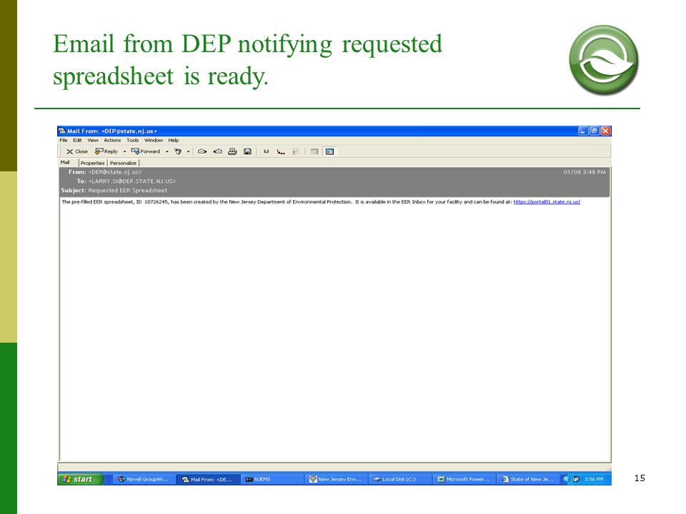 15 Email from DEP notifying requested spreadsheet is ready.