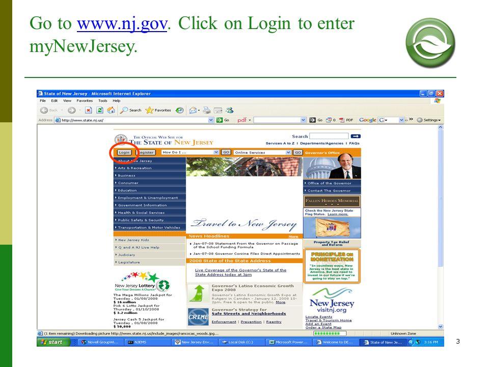 3 Go to www.nj.gov. Click on Login to enter myNewJersey.www.nj.gov