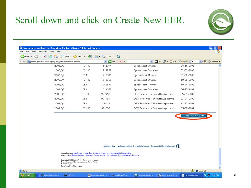 8 Scroll down and click on Create New EER.