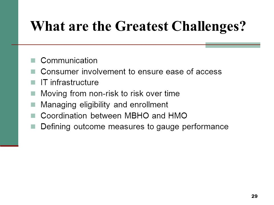 29 What are the Greatest Challenges.
