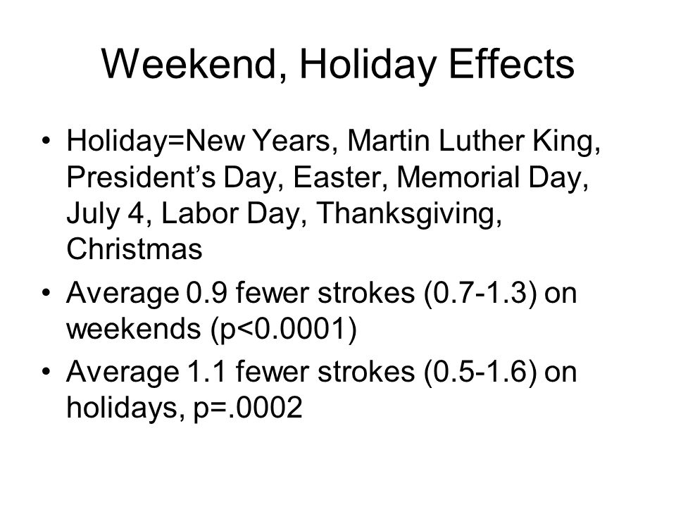 Weekend, Holiday Effects Holiday=New Years, Martin Luther King, Presidents Day, Easter, Memorial Day, July 4, Labor Day, Thanksgiving, Christmas Average 0.9 fewer strokes (0.7-1.3) on weekends (p<0.0001) Average 1.1 fewer strokes (0.5-1.6) on holidays, p=.0002