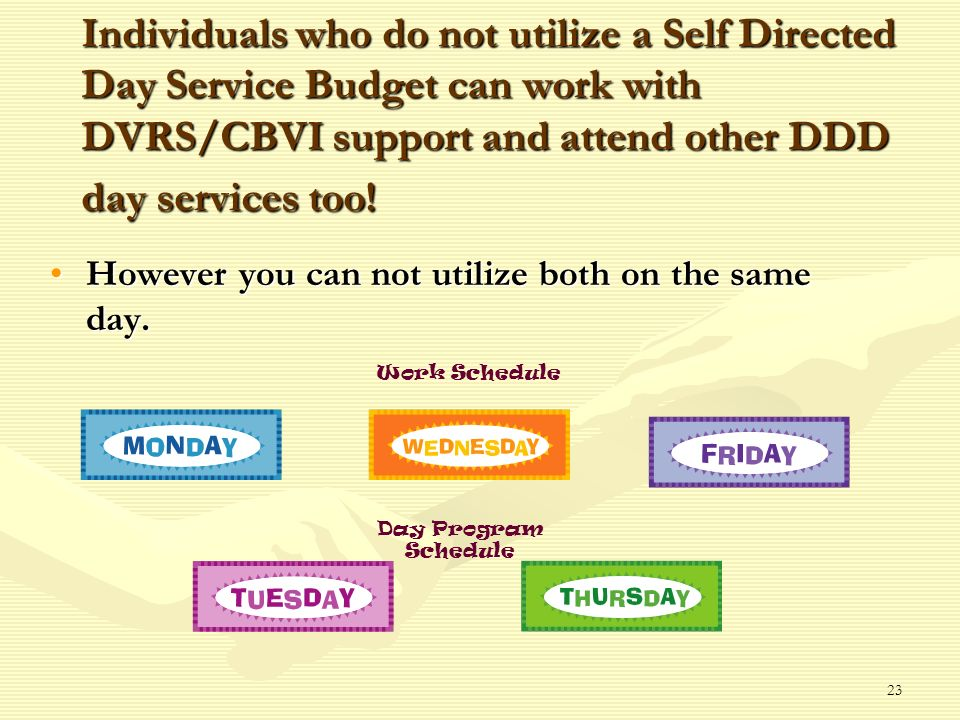 23 Individuals who do not utilize a Self Directed Day Service Budget can work with DVRS/CBVI support and attend other DDD day services too.