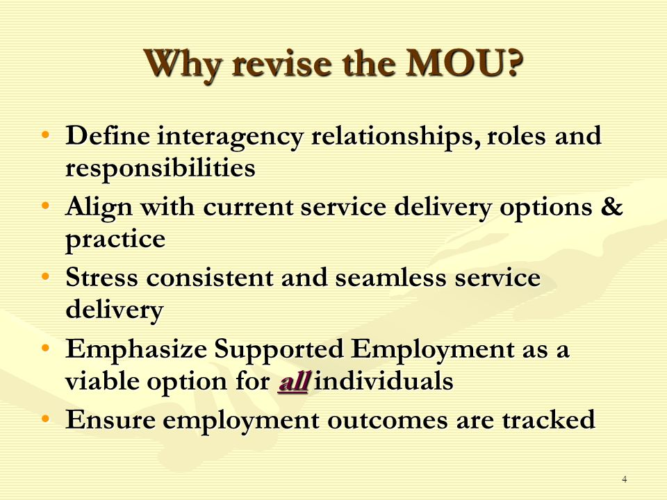 4 Why revise the MOU.