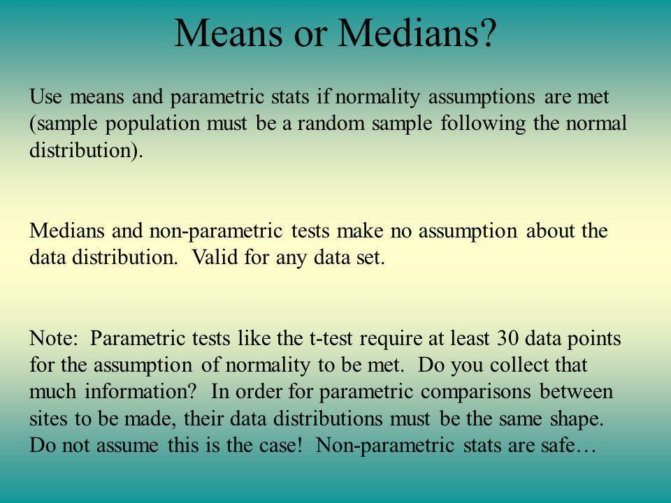 Means or Medians.