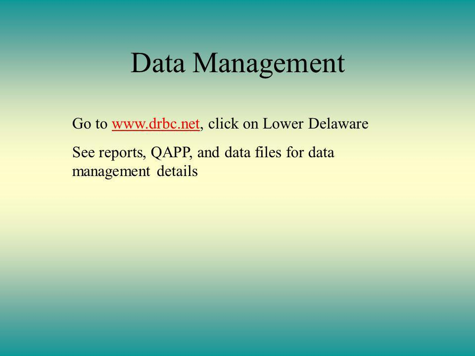 Data Management Go to www.drbc.net, click on Lower Delawarewww.drbc.net See reports, QAPP, and data files for data management details