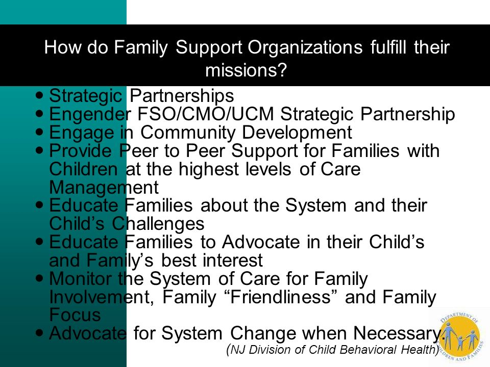 How do Family Support Organizations fulfill their missions.