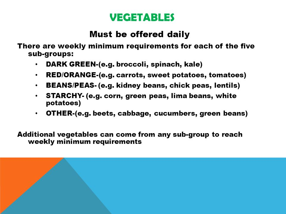 VEGETABLES Must be offered daily There are weekly minimum requirements for each of the five sub-groups: DARK GREEN-(e.g.