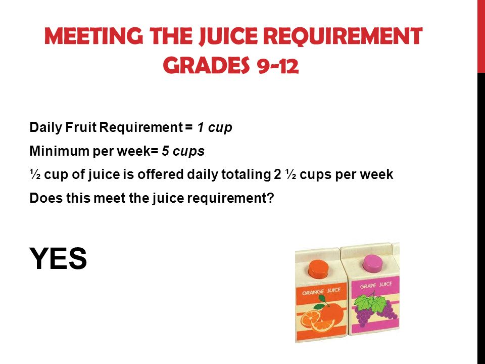 MEETING THE JUICE REQUIREMENT GRADES 9-12 Daily Fruit Requirement = 1 cup Minimum per week= 5 cups ½ cup of juice is offered daily totaling 2 ½ cups per week Does this meet the juice requirement.