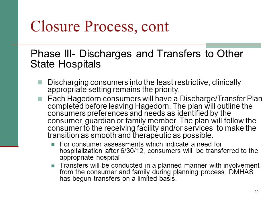 11 Closure Process, cont Phase III- Discharges and Transfers to Other State Hospitals Discharging consumers into the least restrictive, clinically appropriate setting remains the priority.
