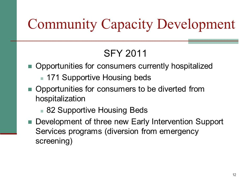 12 Community Capacity Development SFY 2011 Opportunities for consumers currently hospitalized 171 Supportive Housing beds Opportunities for consumers to be diverted from hospitalization 82 Supportive Housing Beds Development of three new Early Intervention Support Services programs (diversion from emergency screening)