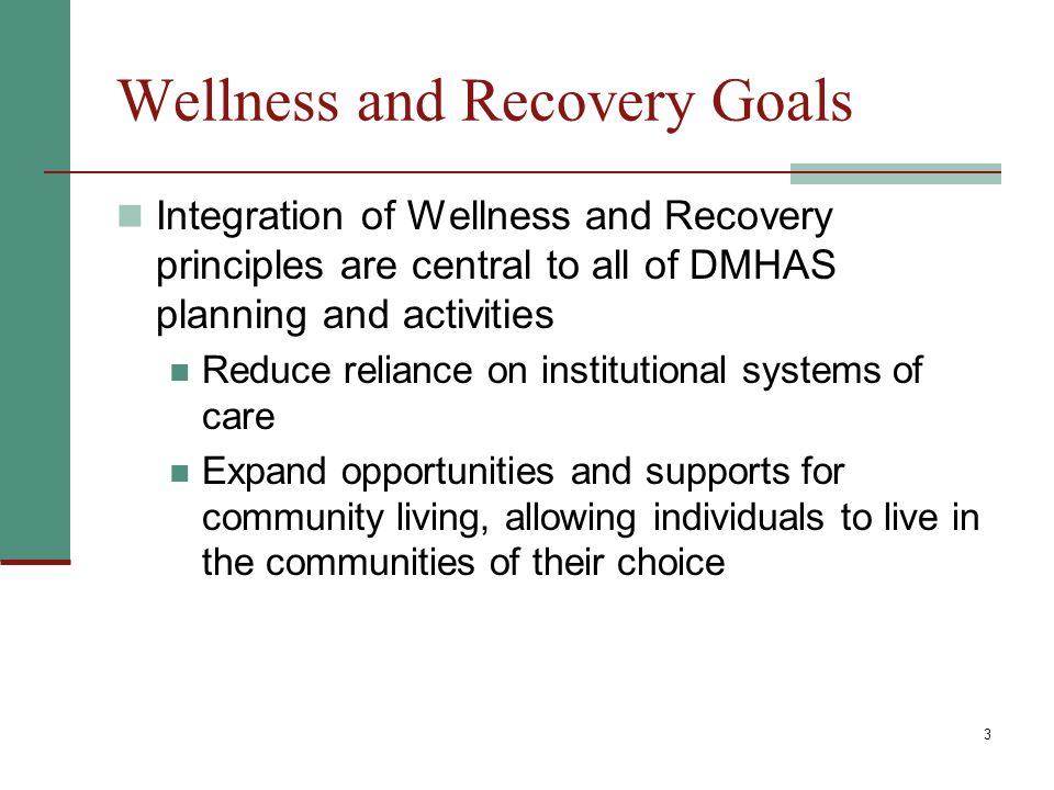 3 Wellness and Recovery Goals Integration of Wellness and Recovery principles are central to all of DMHAS planning and activities Reduce reliance on institutional systems of care Expand opportunities and supports for community living, allowing individuals to live in the communities of their choice