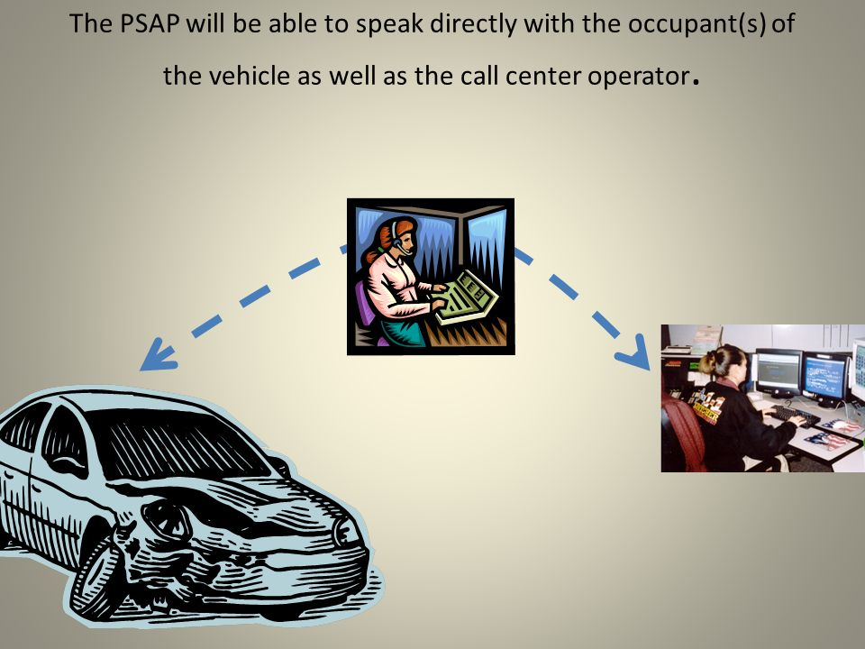 The PSAP will be able to speak directly with the occupant(s) of the vehicle as well as the call center operator.