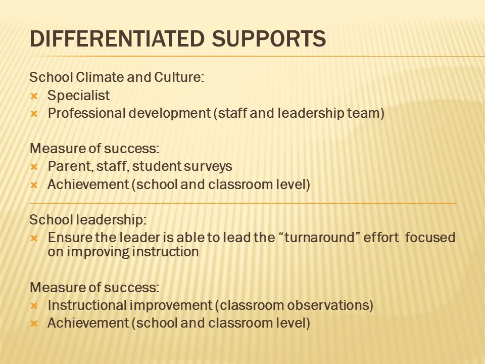 School Climate and Culture: Specialist Professional development (staff and leadership team) Measure of success: Parent, staff, student surveys Achieve