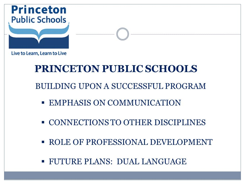 PRINCETON PUBLIC SCHOOLS BUILDING UPON A SUCCESSFUL PROGRAM EMPHASIS ON COMMUNICATION CONNECTIONS TO OTHER DISCIPLINES ROLE OF PROFESSIONAL DEVELOPMEN