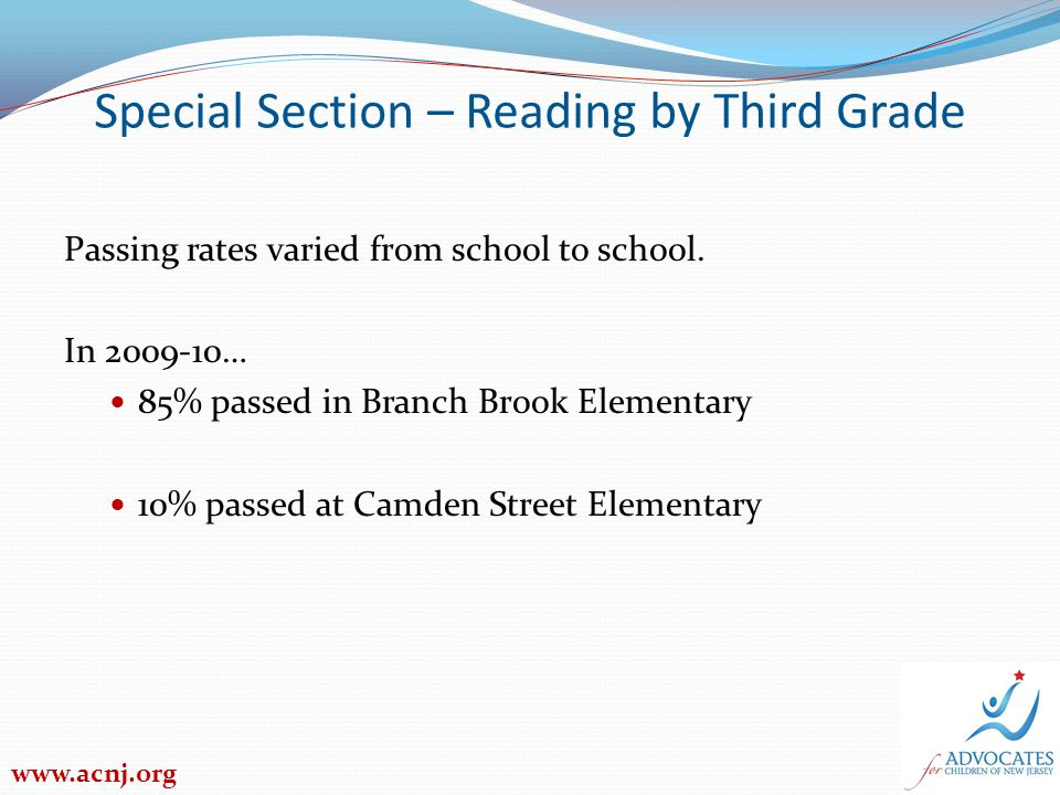 Special Section – Reading by Third Grade 2009-10 Passing Rates by Student Groups Economically disadvantaged students Newark District – 37% passed New Jersey – 40% passed Special education students Newark District – 15% New Jersey – 33% Limited English proficient students Newark District – 36% New Jersey – 33% www.acnj.org