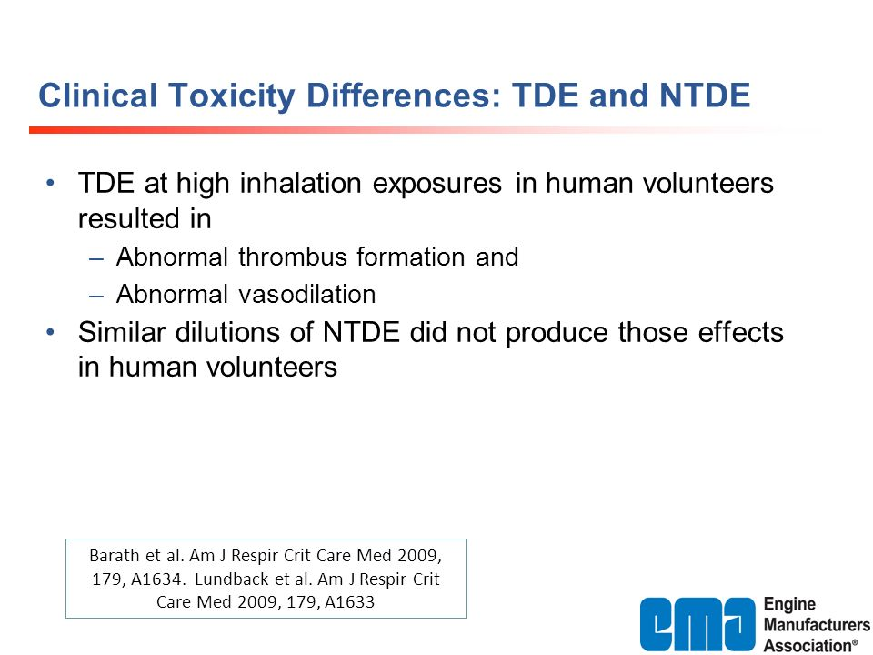 Clinical Toxicity Differences: TDE and NTDE TDE at high inhalation exposures in human volunteers resulted in –Abnormal thrombus formation and –Abnorma