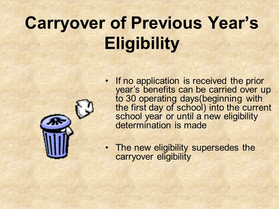 Carryover of Previous Years Eligibility If no application is received the prior years benefits can be carried over up to 30 operating days(beginning w