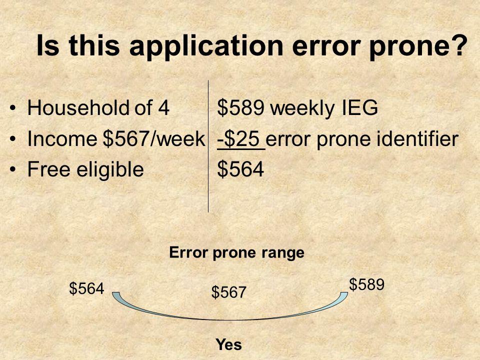 Is this application error prone? Household of 4 Income $567/week Free eligible $589 weekly IEG -$25 error prone identifier $564 Error prone range $589