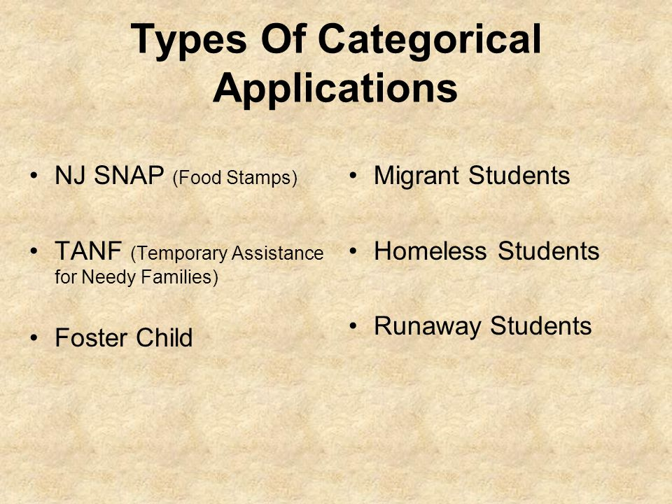 Types Of Categorical Applications NJ SNAP (Food Stamps) TANF (Temporary Assistance for Needy Families) Foster Child Migrant Students Homeless Students