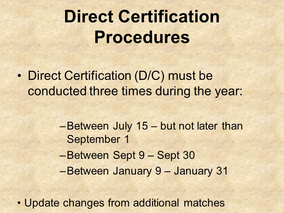 Direct Certification Procedures Direct Certification (D/C) must be conducted three times during the year: –Between July 15 – but not later than Septem