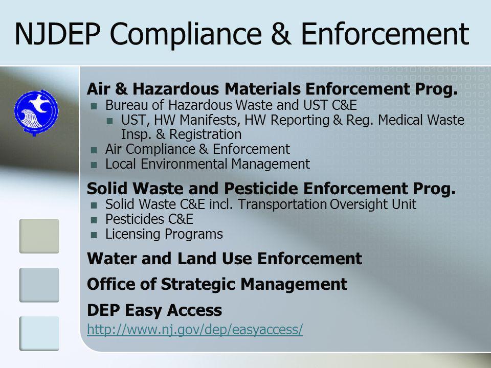 NJDEP Compliance & Enforcement Air & Hazardous Materials Enforcement Prog.