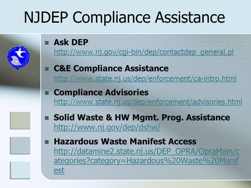 NJDEP Compliance Assistance Ask DEP   C&E Compliance Assistance     Compliance Advisories     Solid Waste & HW Mgmt.