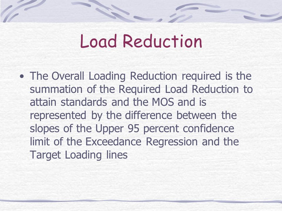 Load Reduction The Overall Loading Reduction required is the summation of the Required Load Reduction to attain standards and the MOS and is represent