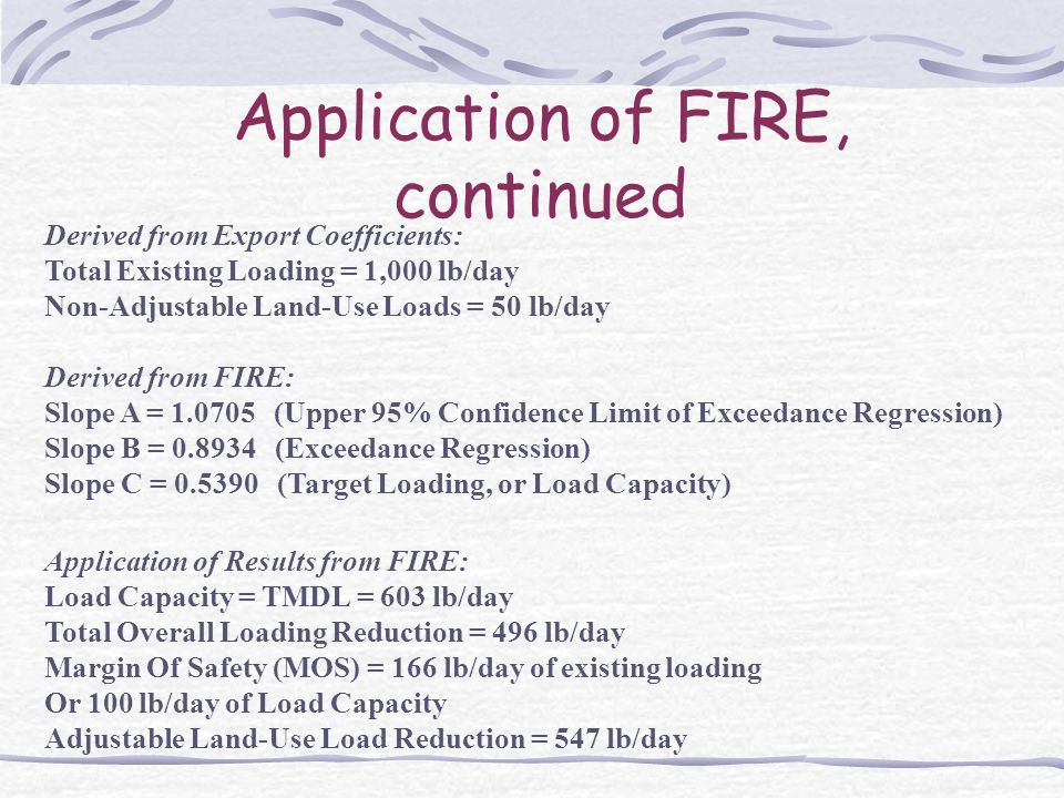 Application of FIRE, continued Derived from Export Coefficients: Total Existing Loading = 1,000 lb/day Non-Adjustable Land-Use Loads = 50 lb/day Derived from FIRE: Slope A = 1.0705 (Upper 95% Confidence Limit of Exceedance Regression) Slope B = 0.8934 (Exceedance Regression) Slope C = 0.5390 (Target Loading, or Load Capacity) Application of Results from FIRE: Load Capacity = TMDL = 603 lb/day Total Overall Loading Reduction = 496 lb/day Margin Of Safety (MOS) = 166 lb/day of existing loading Or 100 lb/day of Load Capacity Adjustable Land-Use Load Reduction = 547 lb/day